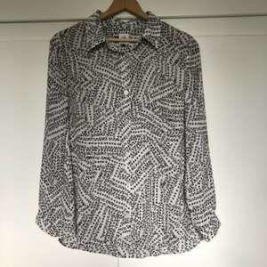 Cabi Womens Sheer Black & White Button-Up Sz M